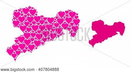 Love Pattern And Solid Map Of Saxony State. Collage Map Of Saxony State Is Designed With Pink Lovely