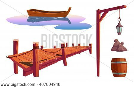 Old Wooden Pier On River, Sea Or Lake, Water Surface With Boat, Pole With Lantern, Barrel, Bags Isol