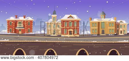 Vintage City Winter Street With European Colonial Victorian Buildings And Lake Promenade. 19th Centu