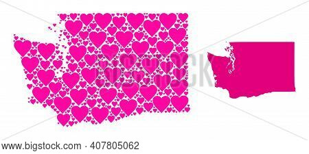 Love Mosaic And Solid Map Of Washington State. Collage Map Of Washington State Composed With Pink Lo