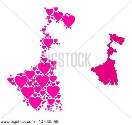 Love Mosaic And Solid Map Of West Bengal State. Mosaic Map Of West Bengal State Formed With Pink Lov