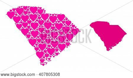 Love Collage And Solid Map Of South Carolina State. Collage Map Of South Carolina State Created From