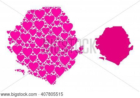 Love Pattern And Solid Map Of Sierra Leone. Mosaic Map Of Sierra Leone Is Composed From Pink Love He