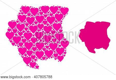 Love Mosaic And Solid Map Of Suriname. Mosaic Map Of Suriname Is Created With Pink Love Hearts. Vect