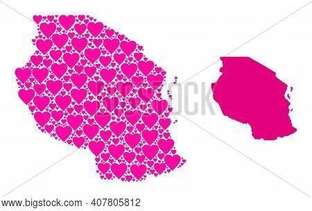 Love Collage And Solid Map Of Tanzania. Collage Map Of Tanzania Is Designed With Pink Love Hearts. V