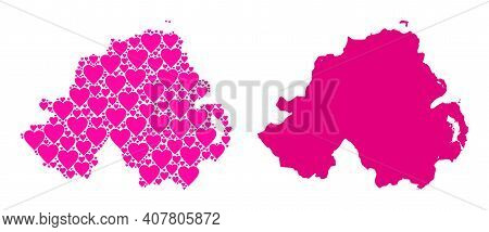 Love Collage And Solid Map Of Northern Ireland. Collage Map Of Northern Ireland Formed From Pink Lov