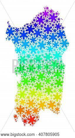 Spectrum Gradient Mosaic Of Sardinia Map Created For Christmas Holidays. Sardinia Map Mosaic Is Comp