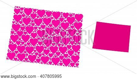 Love Mosaic And Solid Map Of Wyoming State. Mosaic Map Of Wyoming State Designed With Pink Lovely He