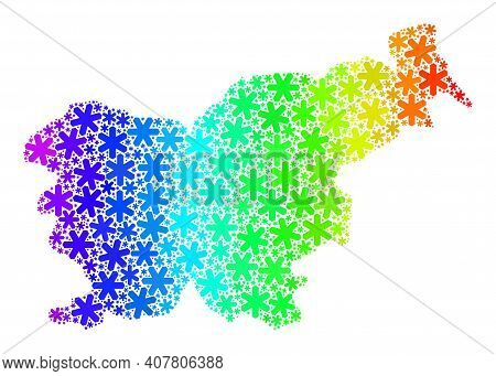 Rainbow Gradient Mosaic Of Slovenia Map Done For New Year Holidays. Slovenia Map Mosaic Is Designed