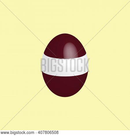 Easter Egg In The Colors Of The Latvian Flag. Flag Of Latvia. Easter Chicken Egg. Christian Religion