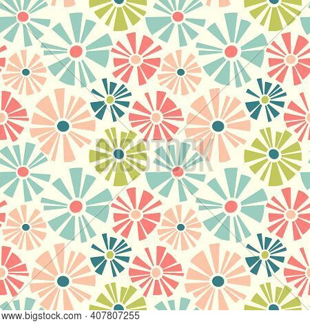 Retro Spring Seamless Pattern Of Cutout Style Daisies. Cheerful Retro Design For Fabric, Wallpaper,