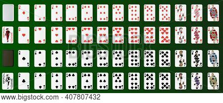 Poker Set With Isolated Cards On A Green Background. Poker Cards, Full Deck. Realistic 3d Vector Ill