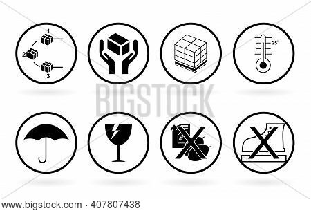 Packaging Symbol Fragile Set Collection. Fragile Package Icons Set, Handle With Care Logistics And D