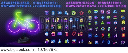 Cyclist Color Neon Set. Healthy Lifestyle Neon Icons. Healthy Food, Kitchen Icons, Walking, Travel,