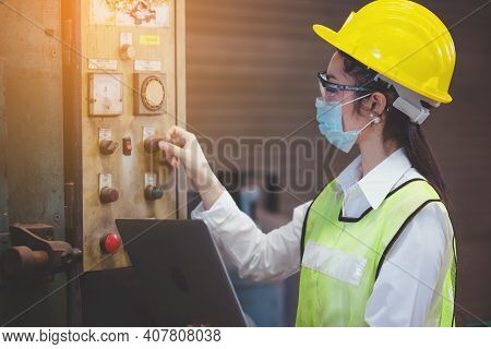 Industrial Factory Maintenance Engineers Woman Inspect Relay Protection System Of Machinery And Hold