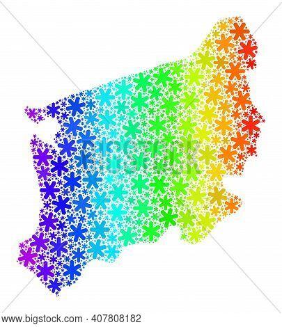 Spectrum Gradient Mosaic Of West Pomeranian Voivodeship Map Designed For New Year Ads. West Pomerani