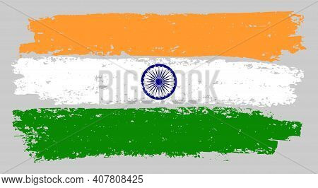 India Flag Chalk Illustration With Charcoal Effect. Vector Freehand India Flag In Official Colors. C