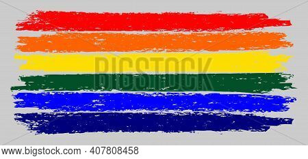 Lgbt Flag Chalk Illustration With Charcoal Effect. Vector Freehand Lgbt Flag In Official Colors. Vib