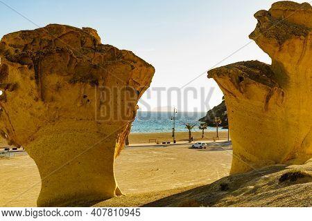 Eroded Rock Formations In Bolnuevo, Spain