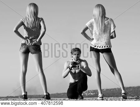 Fashion Photographer. Friendship. Photographing Summer Vacation And Photography