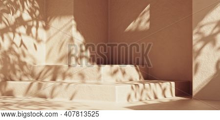 3d Stone Podium Display With Leaf Shadows. Minimal Mockup Scene For Product Display. 3d Rendering Po