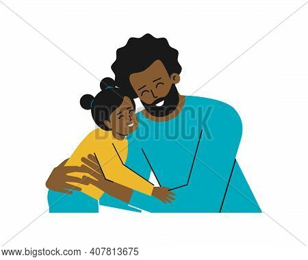 Vector Isolated Illustration With Portrait Of Cartoon Characters. African American Young Father Hugs