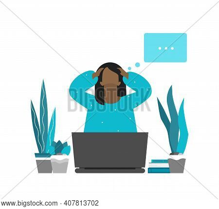Vector Flat Concept. Tired African American Freelancer Is On Remote Work. Woman Has Difficulties To