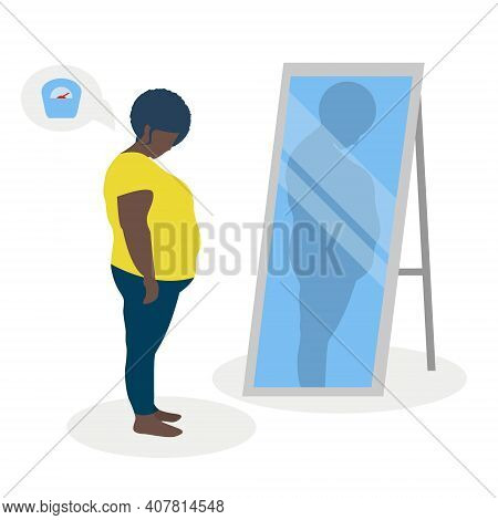 Flat Vector Illustration Of A Black Fat Girl With Low Self-esteem Standing In Front Of A Mirror. The