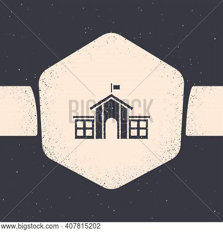 Grunge United States Capitol Congress Icon Isolated On Grey Background. Washington Dc, Usa. Monochro