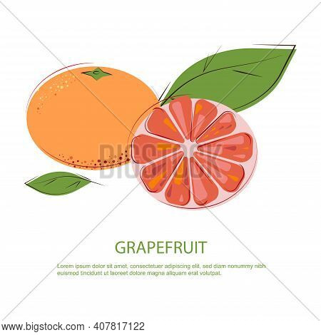Pink Grapefruit. Juicy Grapefruit With Green Leafs. Grapefruit Slices And Whole Grapefruits.