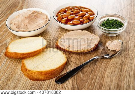 Meat Pate In Glass Bowl, Canned Beans In Bowl, Chopped Parsley In Transparent Bowl, Slices Of Wheat