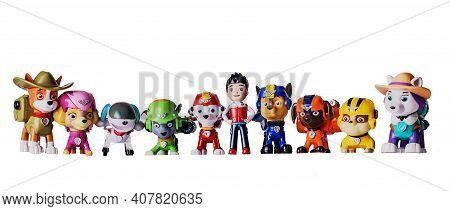 7 November 2019, Voronezh, Russia. Macro Photography Of Paw Patrol Character On A White Background.