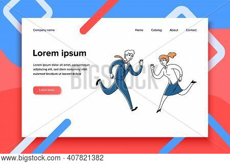 Running Business Couple. Man And Woman Moving To Each Other Flat Vector Illustration. Race, Competit