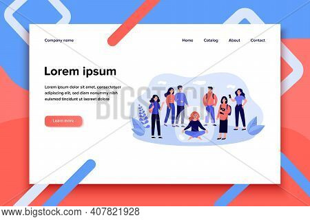 Woman Avoiding Crowd And Sitting Inside Bubble Isolated Flat Vector Illustration. Cartoon Unsocial P