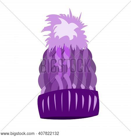 Purple Knitted Hat With A Pompom On A White Background