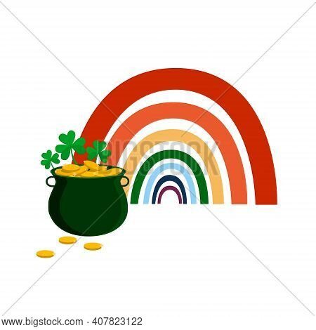 Vector Composition For St. Patrick\'s Day Of A Pot Of Gold, Rainbows, Clover And Gold Coins On A Whi