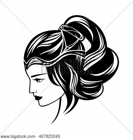 Beautiful Renaissance Woman With Long Gorgeous Hair Wearing Tiara - Luxurious Beauty Care Black And