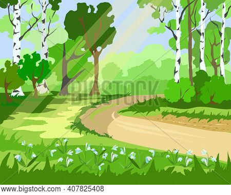 The Landscape Of The Spring Forest With Snowdrops And Birches And The Light Of The Sun