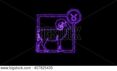 The Aries Zodiac Symbol, Horoscope Sign Lighting Effect Purple Neon Glow. Royalty High-quality Free