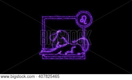 The Leo Zodiac Symbol, Horoscope Sign Lighting Effect Purple Neon Glow. Royalty High-quality Free St