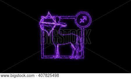 The Sagittarius Zodiac Symbol, Horoscope Sign Lighting Effect Purple Neon Glow. Royalty High-quality