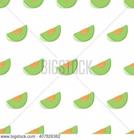 Cartoon Illustration With Green Honeydew Slice Seamless Pattern. Sweet Melon Fruit Art For Print Des
