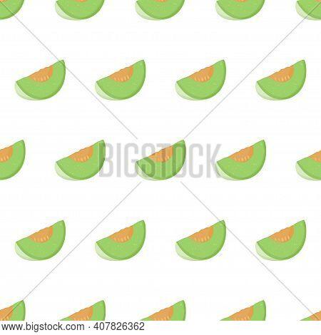 Cartoon Illustration With Green Honeydew Slice Seamless Pattern. Sweet Melon Fruit Art For Print Des