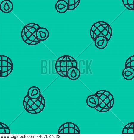 Blue Line Earth Planet In Water Drop Icon Isolated Seamless Pattern On Green Background. World Globe