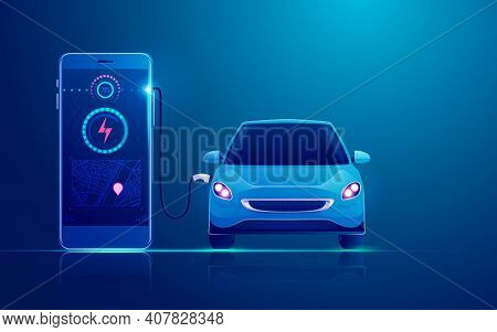 Concept Of Ev Charger Station Application On Mobile, Graphic Of Electric Car Charging By Mobile Phon