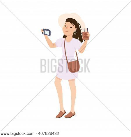 Young Woman Sightseeing And Photographing, Tourist Girl Visiting New Countries And Travelling On Sum