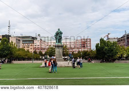 Stockholm, Sweden - August 7, 2019: View Of Kungstradgarden A Public Park In Historic Royal Gardens