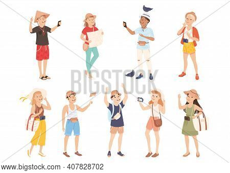People Tourists Sightseeing And Photographing Set, Men And Women Visiting New Countries And Travelli