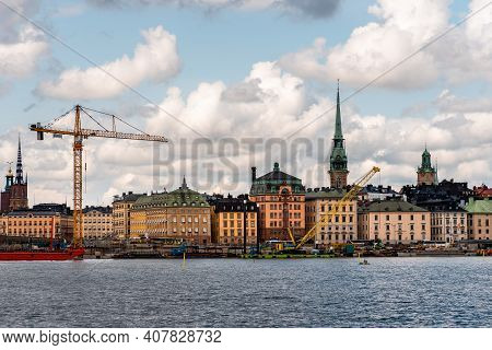 Stockholm, Sweden - August 8, 2019: Construction Works In The Waterfront Of The Port Of Stockholm.
