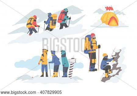 People Characters With Backpacks Ascending Mountains Covered With Snow And Ice Vector Illustration S